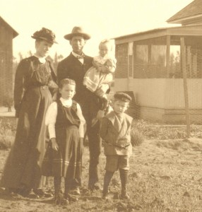 Anna and Peter Ediger with their children Anna, Peter, and Martha on their farm in Escondido, California